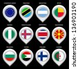 Map marker with flag-set second. In this set icons, I drawed these flags: Faroe island, Nigeria, Macedonia, Algeria, Tanzania, Benin, Sudan, European union, Argentina, Bulgaria, Finland - stock photo