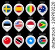 Map marker with flag-set third. In this set icons, I drawed these flags: Trinidad, Guyana, South Sudan, Liberia, Australia, Spain, Monaco, Somalia, Turkey, Mali, Sweden, Estonia - stock photo