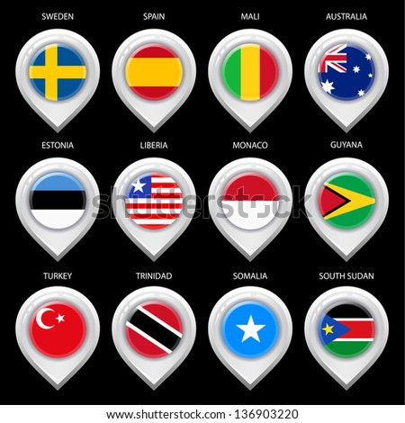 Map marker with flag-set third. In this set icons, I drawed these flags: Trinidad, Guyana, South Sudan, Liberia, Australia, Spain, Monaco, Somalia, Turkey, Mali, Sweden, Estonia - stock vector