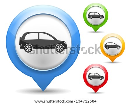 Map marker with icon of a car, vector eps10 illustration - stock vector
