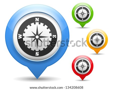 Map marker with icon of a compass, vector eps10 illustration - stock vector