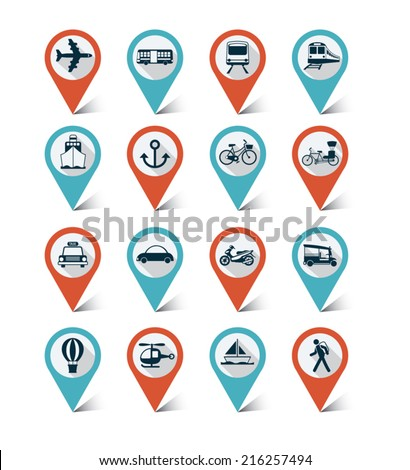 Map markers icons set : Transportation, Trips & Travel - stock vector