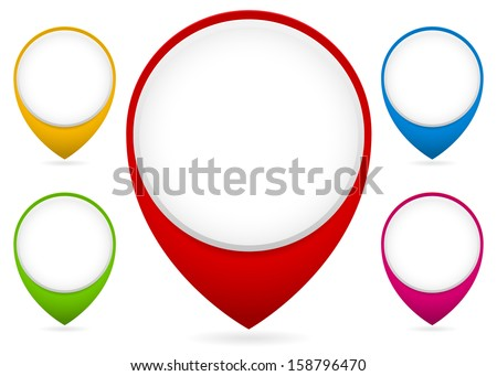 Map markers, map pins collection (transparent shadow, big white place for icons, logo) - stock vector