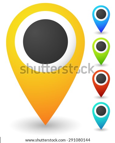 Map markers, map pins, pointer elements. 5 colors, orange, blue, green, red, teal. Location, address, destination, geo location themes. - stock vector