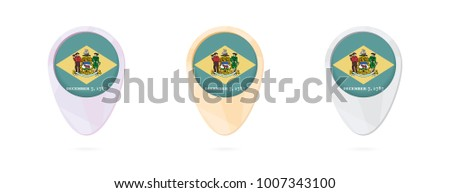 Map Markers Flag Us State Delaware Stock Vector 1007343100