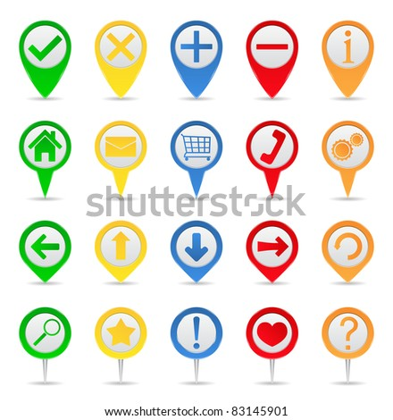 Map markers with icons - stock vector