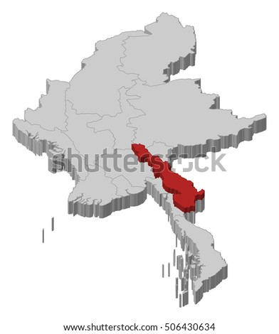 Map - Myanmar, Kayin - 3D-Illustration