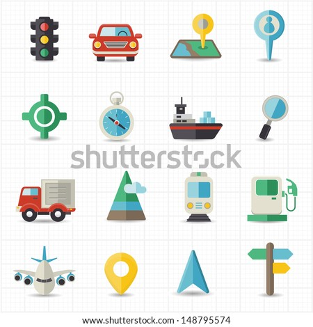 Map navigation and transportation - stock vector
