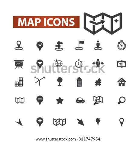 map, navigation black isolated concept icons, illustrations set. Flat design vector for web, infographics, apps, mobile phone servces  - stock vector
