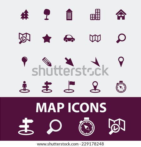 map, navigation isolated icons, signs, illustrations, vectors set on white background - stock vector