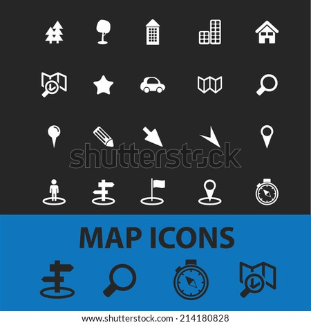 map, navigation, route isolated icons, signs, vectors, illustrations, silhouettes set, vector - stock vector
