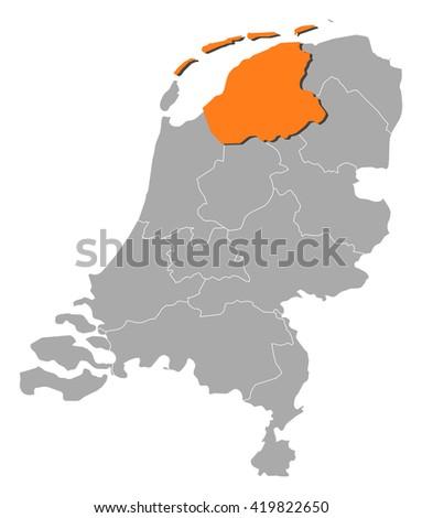Map - Netherlands, Friesland - stock vector