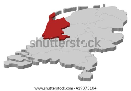Map - Netherlands, North Holland - 3D-Illustration