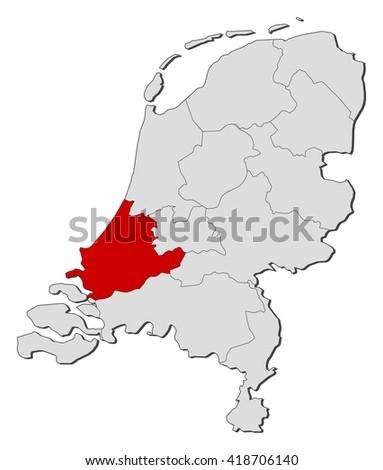 Map Netherlands South Holland Stock Vector 418706140 Shutterstock