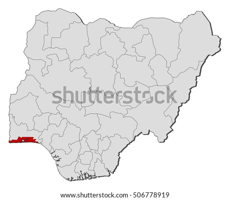 Map Nigeria Lagos Stock Vector 506778919 Shutterstock