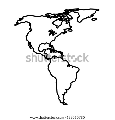 Map North And South America Location Line