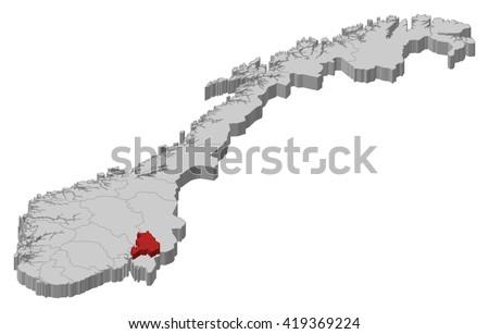 Map - Norway, Akershus - 3D-Illustration - stock vector
