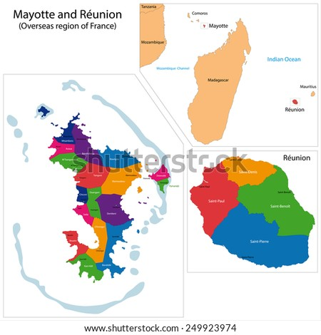 Map of a Reunion and Mayotte, Overseas region of France - stock vector