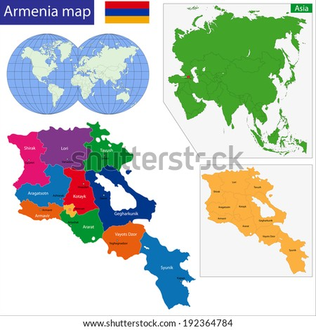 Map of administrative divisions of Armenia - stock vector