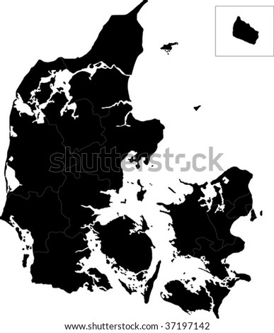 Map of administrative divisions of Denmark - stock vector