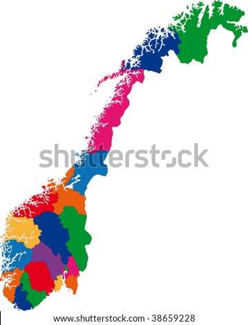 Map of administrative divisions of Norway - stock vector