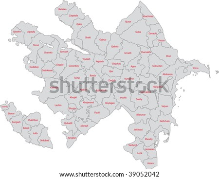 Map of administrative divisions of Republic of Azerbaijan - stock vector