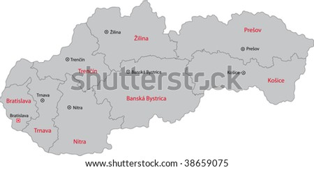 Map of administrative divisions of Slovakia