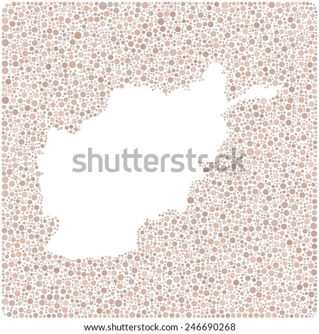Map of Afghanistan - Asia - into a square icon. Mosaic of little bubbles  - stock vector