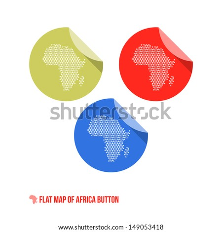 Map of Africa Button - Flat Design - Vector Illustration - stock vector