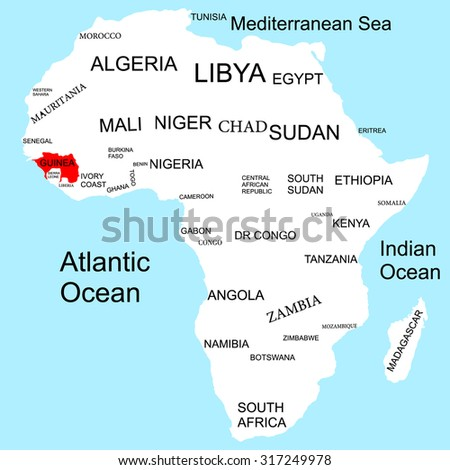 Map of Africa, Guinea