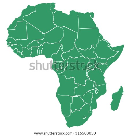 Map Africa Kenya Stock Photo (Photo, Vector, Illustration) 316503050 ...