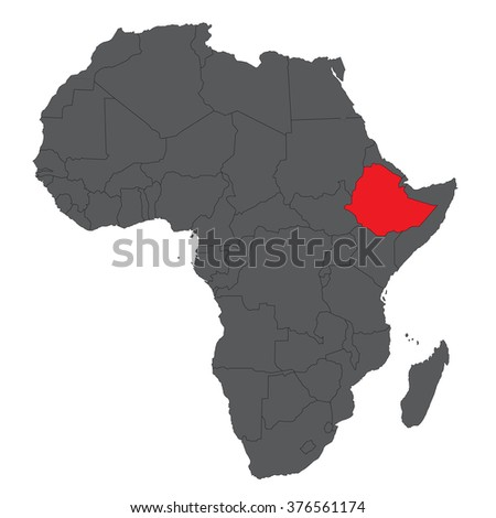 Map of Africa on gray with red Ethiopia vector - stock vector