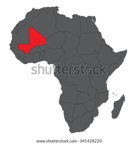 Map of Africa on gray with red Mali vector - stock vector