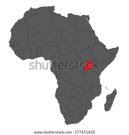 Map of Africa on gray with red Uganda vector  - stock vector