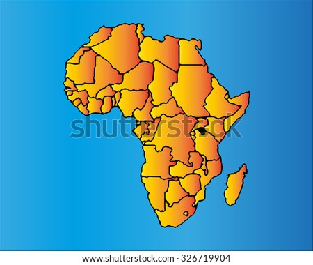 Map of Africa. The African Continent with Separable Borders - stock vector