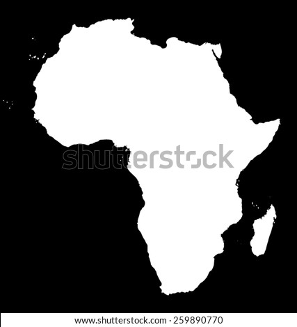 Map of Africa. White silhouette of continent on black background - stock vector