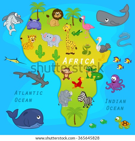 map of Africa with animals - vector illustration, eps - stock vector
