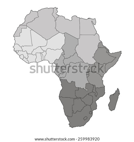 Map of Africa with division into regions - stock vector