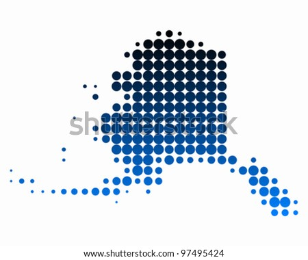 Map of Alaska - stock vector