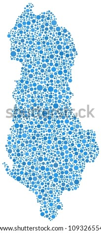 Map of Albania (Europe) in a mosaic of blue circles on white background - stock vector