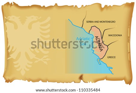 Map of Albania on the ancient parchment. Vector illustration. - stock vector