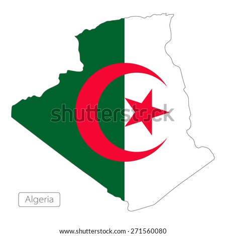 Map of Algeria with an official flag. Illustration on white background - stock vector