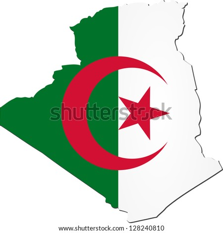 Map of Algeria with national flag isolated on white background - stock vector