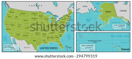 Map America State Names Capitals Other Stock Vector - Map of the usa with state names