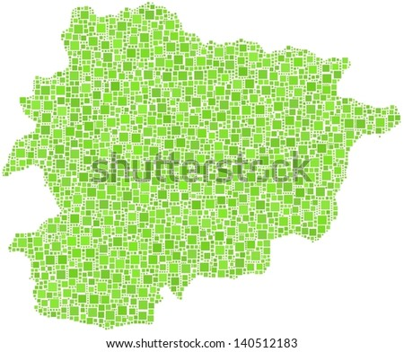 Map of Andorra - Europe - in a mosaic of green squares