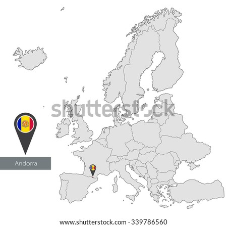 Map of Andorra with an official flag. Location in Europe  - stock vector