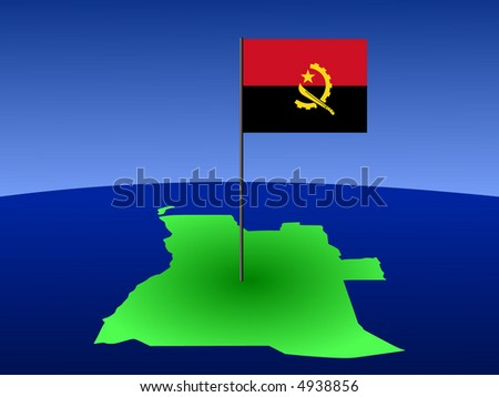 map of Angola and Angolan flag on pole illustration