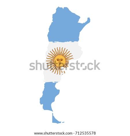 Argentina Map Flag Vector Stock Vector Shutterstock - Argentina map vector