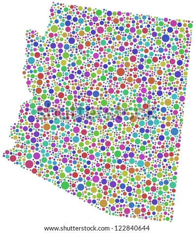 Map of Arizona (USA) in a mosaic of harlequin bubbles - stock vector