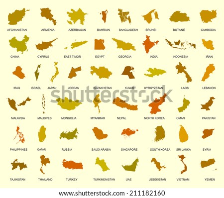 Map of asia country. Big vector set of all Asia states with names under silhouette. Middle east and Arab countries in the group. Far east. - stock vector